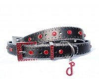 Monte Carlo collar in Vulcan Black with red diamantes